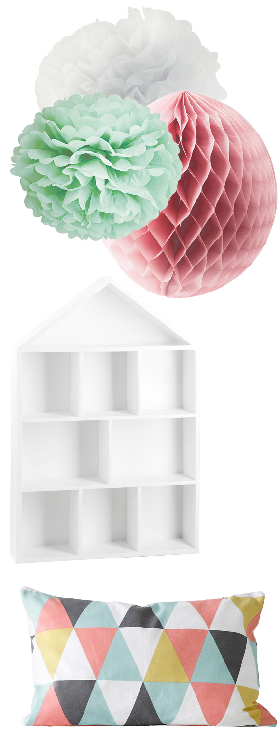 inspirera mera åhlens pompoms honeycombs kudde pastell mint rosa vitt