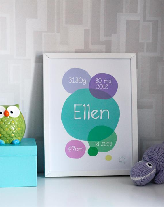 bubbles stilren design shop inspirera mera grafisk tryck personligt barntavla namntavla namn