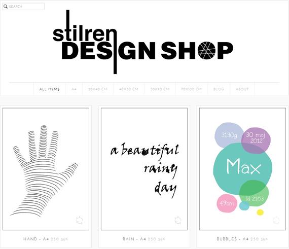 Stilren design shop webbshop grafiska tryck posters tavlor loreus