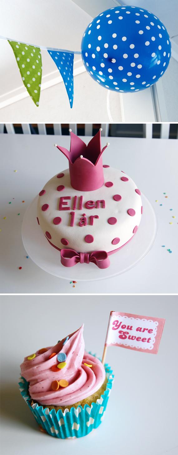 kalas ettårskalas ellen inspirera mera prickigt tema cupcake tårta prinsess ballong vimpel
