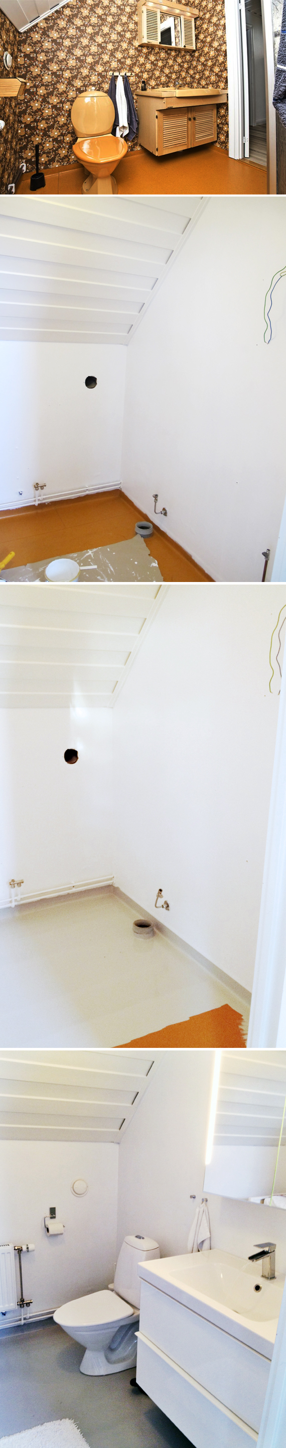 inspireramera inspirera mera inredning budgetrenovering renovering makeover minimakeover badrum toalett måla vitt väggar golv vinyltapet